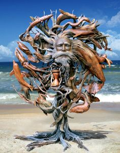 Driftwood Statue with face carving – Schnitzerei Sculpture Metal, Driftwood Sculpture, Driftwood Art, Lion Sculpture, Wooden Sculptures, Abstract Sculpture, Trucage Photo, Art Beauté, Wow Art