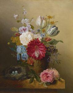 Gabriël Henriques de Castro (Amsterdam 1808-1853) Pronkboeket met vogelnestje - Kunsthandel Simonis en Buunk, Ede (Nederland).