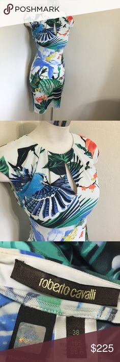 """ROBERTO CAVALLI Tropical Bird Alzie Dress Sz 38 S Label-Roberto Cavalli  Style- """"Alzie"""" -Print Keyhole Stretch knit Sheath, Jewel neck with keyhole, Cap sleeves, Nips in at natural waist, pulls on no fastenings, slit button-loop Keyhole in back. Sold out.  Size-Italian 38 US 0 Will also fit a 2 Measurements-Length underarm seam to hem-28  Color-Bright Tropical Colors on White Fabric-88% Polymide, 12% Elastene Condition-MINT, no issues, no signs of wear Origin-Italy Roberto Cavalli Dresses…"""