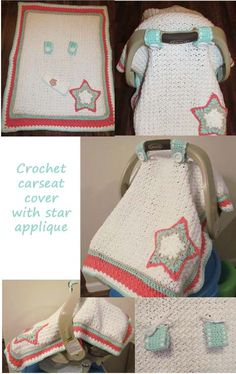 Crochet car seat cover with star applique for baby girl.  Adapted pattern with removable straps.  Once baby has outgrown snugride, remove the straps and use as adorable baby blanket.