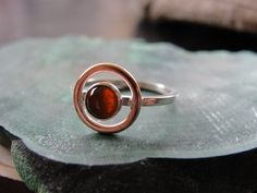 Amber Sterling Silver Ring with Copper Halo