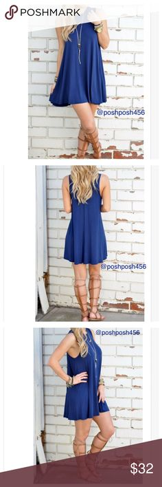 Blue casual dress Blue casual dress can be worn at the beach or hanging out with your girls or even on the date. Length is 29 inches. Armpit to armpit measures 18/19 inches. Tag says XL but best fits M/L. Will be listed under L. Lee's boutique Dresses Mini