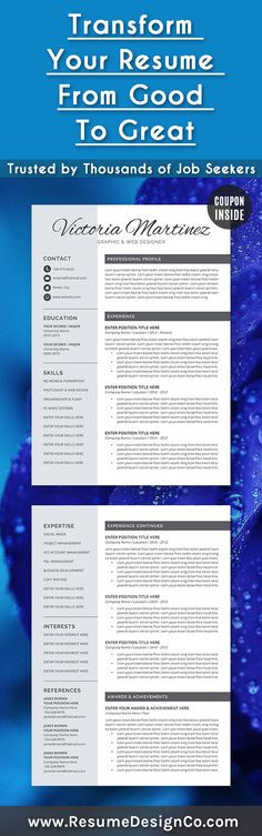 Professional Resume Template Cover Letter CV by ResumeDesignCo - how to find resume templates on word