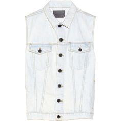 Proenza Schouler Denim vest (590 PEN) ❤ liked on Polyvore featuring outerwear, vests, chaquetas, vest, light denim, proenza schouler, denim waistcoat, light blue denim vest, vest waistcoat and denim vest