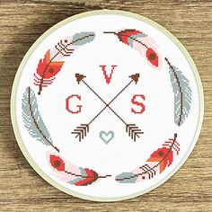 Instant Download PDF Cross Stitch Pattern. Title: Tribal family initials. Collection: New tribal This listing includes : Feathers wreath cross stitch pattern and full English alphabet pattern to complete the design. Skill level: Beginner. Pattern size (without white borders