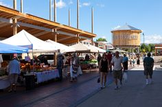 Santa Fe Railyards farmers market. 50 Acre redevelopment site.