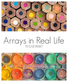 Arrays in Real Life - ideas for teaching arrays with examples of real life arrays and printable array posters plus an art activity to make arrays Division Activities, Kids Learning Activities, Number Activities, Array Math, Teaching Math, Maths, Primary Teaching, Teaching Resources, Teaching Ideas