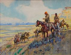 JAMES KENNETH RALSTON (1896-1987)  Captain Clark on the Yellowstone  oil on canvas  signed lower right J. K. Ralston 66