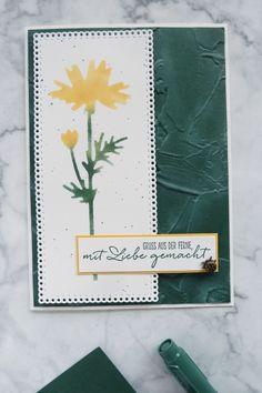 Karte mit Schablonentechnik in Lodengrün, gemacht für die Inspirationswoche zum Thema InColors 2021-2023 #lodengrün #incolors #incolor20212023 #schablonentechnik #stencilcards #diycards #crafting #astridspapiereuphorie #stampinup #stampinupösterreich #stampinupdemo #stampinupwien #kreativmitpapier #diy #handemadecards #cardmaking #paperlove #bastelnmachtspass #creative #diykarten #papierliebe Stampinup, Card Making, Inspiration, Creative, Cards, How To Make, Paper, Stencils, Ideas