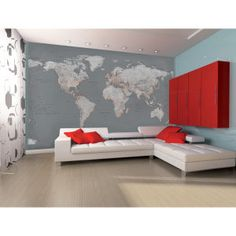 Contemporary grey world map wallpaper mural wallpaper murals silver map wall mural gumiabroncs Image collections