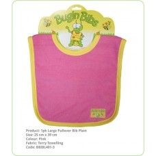Bibs Large Pullover Plain:- Double layer of absorbent terry toweling and generous sizing. Ideal for wrangling your toddler and the medium bibs have a Velcro adjustable neck, perfect for the young ones.
