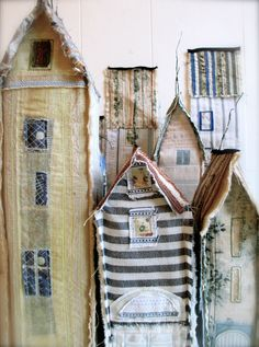 Oslo Towers - textile houses Freestanding houses -- see pictures farther into… Textile Fiber Art, Home Textile, Textiles, Art Projects, Sewing Projects, Fabric Houses, Soft Sculpture, Art Plastique, Little Houses