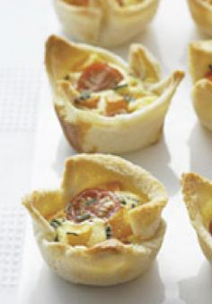 Squash & Cherry Tomato Quiche Cups – One of America's favorite brunch dishes! Serve this appetizer recipe at this your next party.