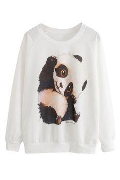 White Womens Cute Panda Printed  Crew Neck Sweatshirt