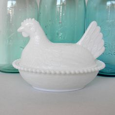 White milk glass Hen  on Nest by Indiana Glass 1940s-1950s.
