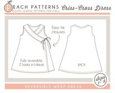 Criss-Cross Reversible Wrap Dress Cross Over Dress INSTANT DOWNLOAD PDF Sewing…