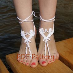 Crochet Barefoot Sandal Pattern, Nude shoes Pattern, Toe Thong Pattern, Easy Beach Wedding DIY, Crochet angel pattern, Foot Jewelry by CrochetByPapilio on Etsy