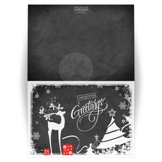 "Best chalkboard ""Christmas Greetings"" Christmas or Holiday card with white deer, trees, snowflakes, stars and holly and berries."