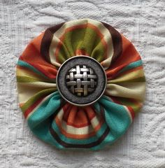 Fabric Yoyo with Metal Button by Bowinkles on Etsy, $4.00