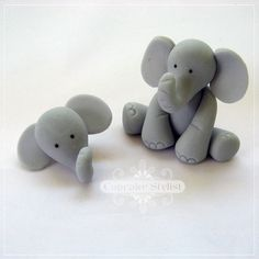 Fondant & Gumpaste Elephant Cupcake and Cake Topper Set by