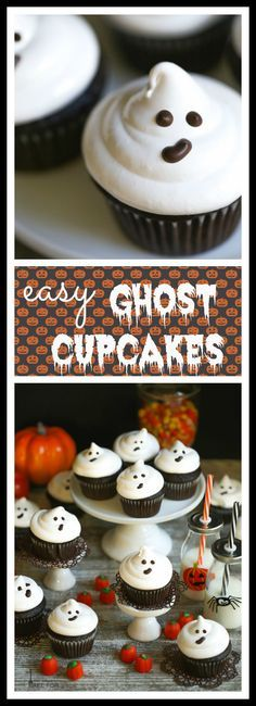 These ghost cupcakes are super easy to make and the perfect treat for your Halloween party. These ghost cupcakes are super easy to make and the perfect treat for your Halloween party. Halloween Desserts, Dulces Halloween, Pasteles Halloween, Halloween Goodies, Halloween Food For Party, Halloween Birthday, Cupcakes For Halloween, Easy Halloween Treats, Halloween Ideas