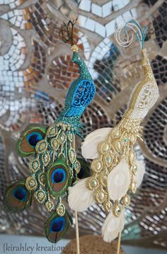 REGAL PEACOCK Wedding Cake Toppers -- Glittery Iridescent Green Teal and Gold Pair of Birds w/ Feathers, Herl & Swarovski Jewels