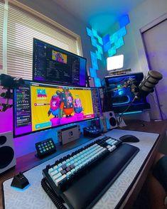 Computer Gaming Room, Computer Desk Setup, Gamer Setup, Gaming Room Setup, Best Pc Setup, Tour Pc, Small Game Rooms, Bedroom Setup, Video Game Rooms