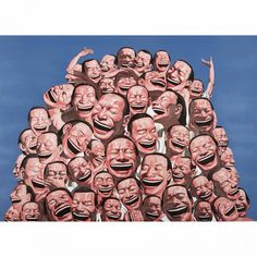 Garbage Hill - Yue Minjun - Weng Contemporary  https://www.wengcontemporary.com/shop/product/garbage-hill #yueminjun #garbagehill #snatchedecstasy #wengcontemporary #buyonline #print #lithography