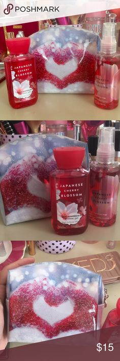 Bath and Body Works Gift Set Adorable gift set with glitter sparkle cosmetic bag and two products! The Japanese Cherry Blossom mist and body lotion. Great for traveling Bath and Body Works Accessories