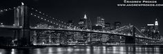 Panoramic View of the Brooklyn Bridge and Lower Manhattan at Night - http://andrewprokos.com/photos/new-york/