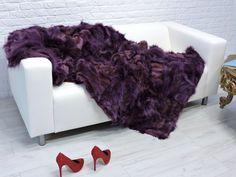 "Luxury genuine  fox fur throw, blanket,purple color   86"" x 43"", #188"