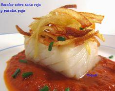 Les receptes del Miquel: Bacalao sobre salsa roja y patatas paja