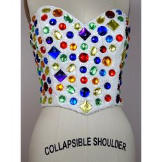 Rainbow Crystal Beaded Bustier Bright Sequin Jewel Embellished Couture... ($1,895) ❤ liked on Polyvore featuring tops, beaded bustier tops, multi color tops, sequin embellished top, sequin bustier top and vintage bustier