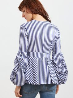 Online shopping for Blue Striped Deep V Neck Lantern Sleeve Box Pleated Peplum Top from a great selection of women's fashion clothing & more at MakeMeChic.COM.