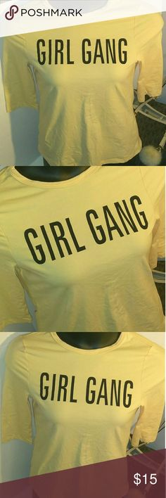 GIRL GANG stretchy top BNWOT Size Medium GIRL GANG LOGO Super stretchy top with 3/4 sleeves Tops Crop Tops