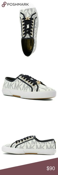 New! MICHAEL KORS MK Logo Lace-Up Sneakers Shoes Featuring gold-tone hardware and allover signature logo print, the MICHAEL Michael Kors' Boerum sneakers make a comfy but stylish statement.  Brand New With Box  Allover signature logo print  Round closed-toe sneakers  Lace-up closure  Leather/manmade upper  Manmade sole Michael Kors Shoes Sneakers