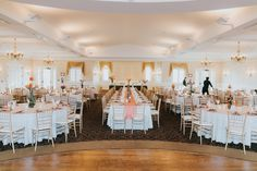 The River House, Coral & Green Wedding. Reception ideas