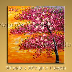 Original Art Modern Abstract Oil Painting Contemporary Blossom Tree Landscape $185.00  . Discover more paintings available at eBay store http://stores.ebay.com/Aqiangs-Art-Studio