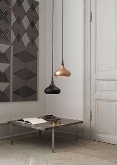 Lampe suspension / contemporaine / en bois de rose / en cuivre - ORIENT by Jo Hammerborg - Lightyears