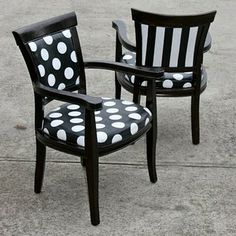 love the black with white polka dot chairs - fun indoors or out!