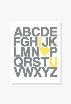 J'ai l'amour vous Alphabet Poster - Nursery décor Kids Wall Art moderne typographique Poster Print / / 5 x 7-24 x 36 pouces