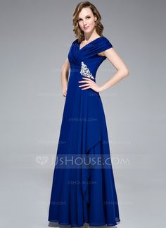 A-Line/Princess Off-the-Shoulder Floor-Length Chiffon Evening Dress With Ruffle Beading (008040842)