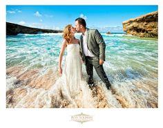 """Trash the dress"" photo shoot at Boca Prins Beach in Aruba, destination wedding.  Photos by Ron Soliman Photojournalism"