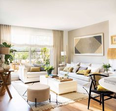 Spanish interiors are recognizable right away: if you notice warm tones and yellow-green accents, beautiful light furniture and lots of greenery, then ✌Pufikhomes - source of home inspiration Furniture For Small Spaces, Outdoor Furniture Sets, Room Decor Bedroom, Living Room Decor, Small Apartment Living, Beautiful Living Rooms, Suites, Ideal Home, House Styles