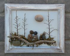 "Pebble Art (Pebble Family of Five or Pebble Friends sitting on a log under trees and sun) in a 8x10 ""open"" frame"