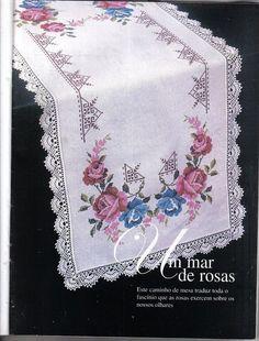 Crochet Fabric, Crochet Doilies, Cross Stitch Designs, Cross Stitch Patterns, Embroidered Towels, Kurti Designs Party Wear, Cross Stitch Embroidery, Flower Arrangements, Embroidery Designs