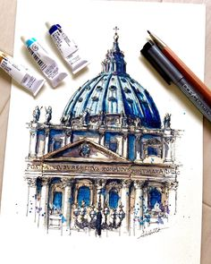 Akihito Horigome (@horiaki2) в Instagram: St.Peter's Basilica , Vatican City #vatican #aquarell #art #painting #watercolor #watercolour #sketch #paint #drawing #sketching #sketchbook #travelbook #archisketcher #sketchaday #sketchwalker #sketchcollector #artjournal #traveldiary #topcreator #usk #urbansketch #urbansketchers #скетчбук #скетч #скетчинг #pleinair #aquarelle #watercolorsketch #usk #architecture #painting #illustration