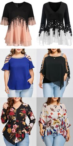 Rosegal plus size blouses spring summer outfits for women Plus Size Black Dresses, Plus Size Outfits, Plus Size Blouses, Plus Size Tops, Summer Fashion Outfits, Trendy Outfits, Moda Xl, Spring Shirts, Plus Size Fashion