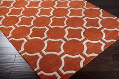 Surya Jill Rosenwald Zuna ZUN1035 Pumpkin Rug | Contemporary Rugs 100 wool $1566 with free shipping 8x11