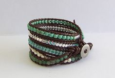Chan Luu Inspired Leather Wrap Bracelet with Aventurine Magnesite Turquoise and Crystal Beads on Brown Leather. $38.95, via Etsy.